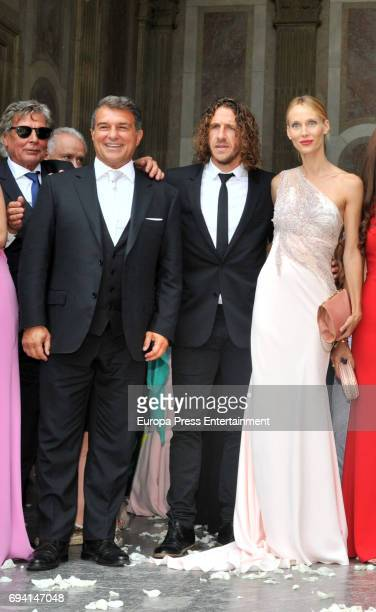 Joan Laporta Carles Puyol and Vanessa Lorenzo attend the wedding of the goalkeeper Victor Valdes and Yolanda Cardona on June 9 2017 in Barcelona Spain