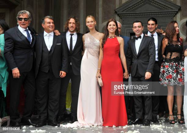 Joan Laporta Carles Puyol Vanessa Lorenzo Nuria Cunillera Xavi Hernandez Jose Manuel Pinto Elena Gross attend the wedding of the goalkeeper Victor...