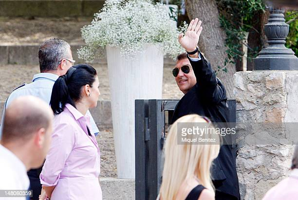 Joan Laporta former President of FC Barcelona attends the wedding of Andres Iniesta and Ana Ortiz at the Castell de Tamarit on July 8 2012 in...