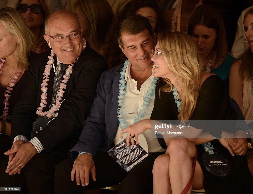 <a gi-track='captionPersonalityLinkClicked' href=/galleries/search?phrase=Joan+Laporta&family=editorial&specificpeople=552449 ng-click='$event.stopPropagation()'>Joan Laporta</a> (C) is seen during the '080 Barcelona Fashion Week' on July 1, 2014 in Barcelona, Spain.