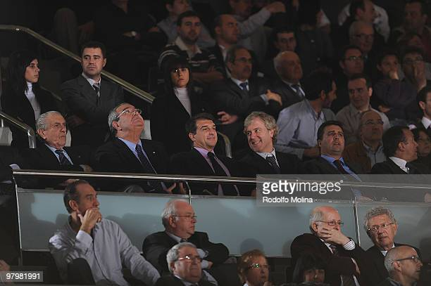 Joan Laporta President of FC Barcelona watching the Euroleague Basketball 20092010 Play Off Game 1 between Regal FC Barcelona vs Real Madrid at Palau...