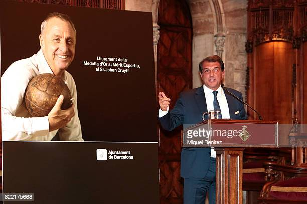 Joan Laporta speaching during the Golden Medal of Merit for Johan Cruyff Event at the Salo de Cent in the Barcelona's town hall on November 10 2016...