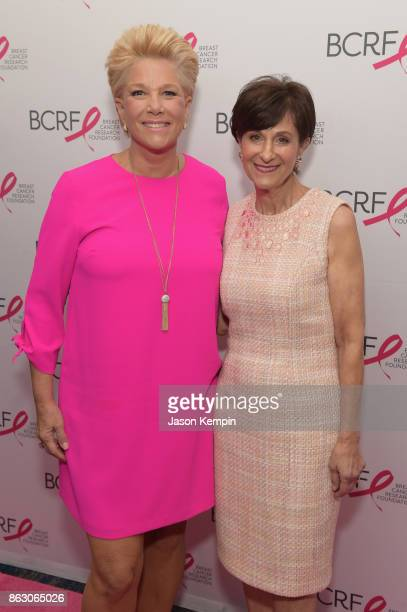 Joan London and Myra Biblowit President CEO BCRF arrive at the Breast Cancer Research Foundation New York Symposium and Awards Luncheon at New York...
