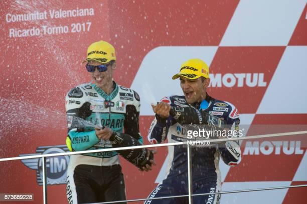 Joan Mir Leopard Racing Honda #88 Jorge Martin Del Conca Gresini Moto3 Honda during the race day of the Gran Premio Motul de la Comunitat Valenciana...