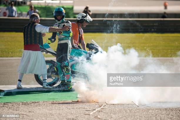 Joan Mir Leopard Racing Honda celebrates his championship world Moto3 during the race day of the Gran Premio Motul de la Comunitat Valenciana Circuit...
