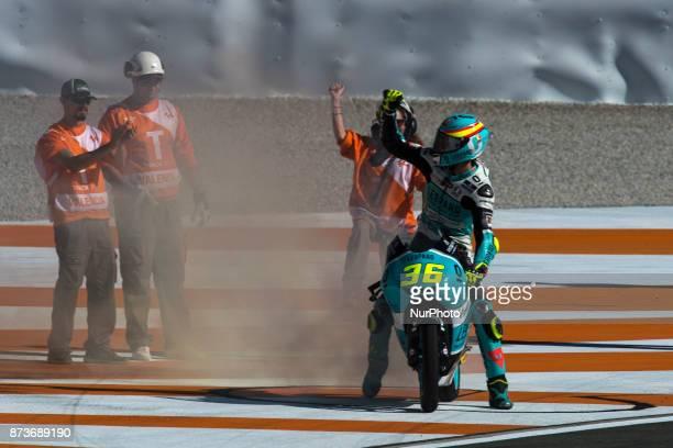 Joan Mir Leopard Racing Honda celebrates his world championship of Moto3 during the race day of the Gran Premio Motul de la Comunitat Valenciana...