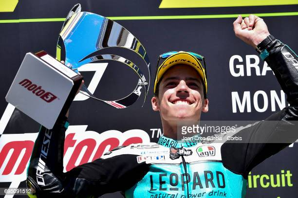Joan Mir of Leopard Racing celebrating his victory during the Moto 2 race at Moto GP of Catalunya at Circuit de Catalunya on June 11 2017 in Montmelo...