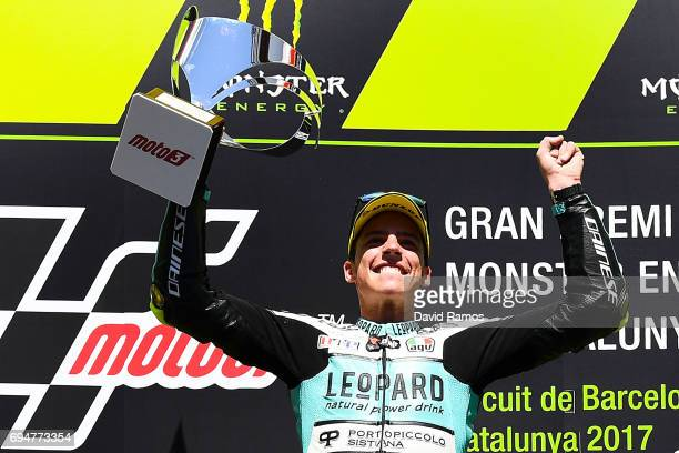 Joan Mir of Spain and Leopard Racing celebrates on the podium after winning the Moto3 of Catalunya at Circuit de Catalunya on June 11 2017 in...