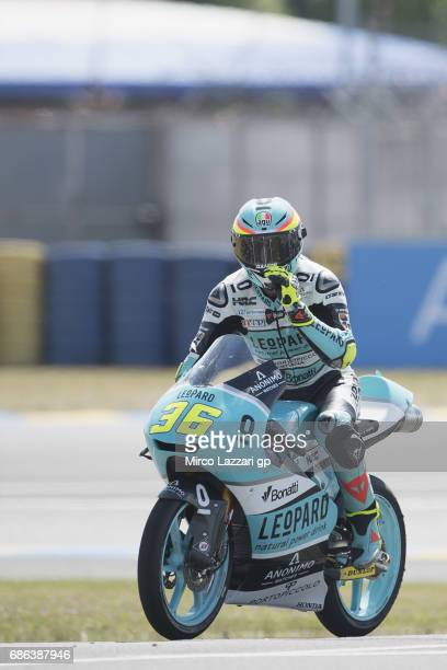 Joan Mir of Spain and Leopard Racing celebrates the victory at the end of the Moto3 race during the MotoGp of France Race on May 21 2017 in Le Mans...