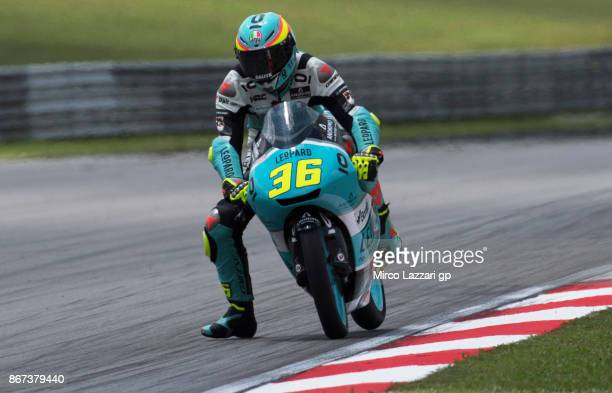 Joan Mir of Spain and Leopard Racing heads down a straight during the qualifying practice during the MotoGP Of Malaysia Qualifying at Sepang Circuit...