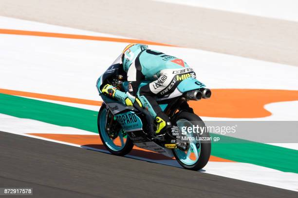Joan Mir of Spain and Leopard Racing heads down a straight during the qualifying practice during the Comunitat Valenciana Grand Prix Moto GP Previews...