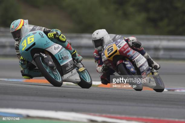 Joan Mir of Spain and Leopard Racing leads Romano Fenati of Italy and Marinelli Rivacold Snipers Team during the Moto3 race during the MotoGp of...