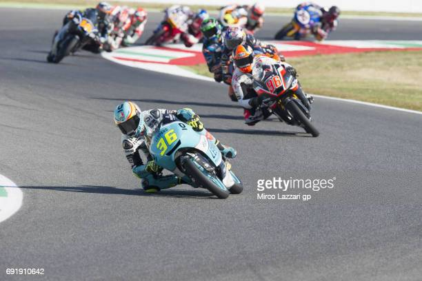 Joan Mir of Spain and Leopard Racing leads the field during the MotoGp of Italy Qualifying at Mugello Circuit on June 3 2017 in Scarperia Italy