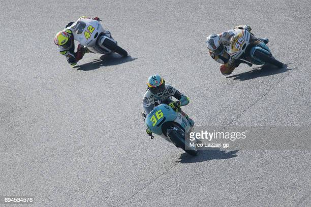 Joan Mir of Spain and Leopard Racing leads the field during the MotoGp of Catalunya Qualifying at Circuit de Catalunya on June 10 2017 in Montmelo...