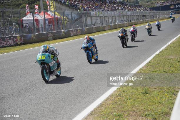 Joan Mir of Spain and Leopard Racing leads the fields during the Moto3 race during the MotoGp of Spain Race at Circuito de Jerez on May 7 2017 in...