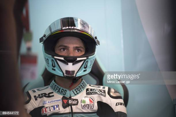 Joan Mir of Spain and Leopard Racing looks on in box during the MotoGp of Catalunya Qualifying at Circuit de Catalunya on June 10 2017 in Montmelo...