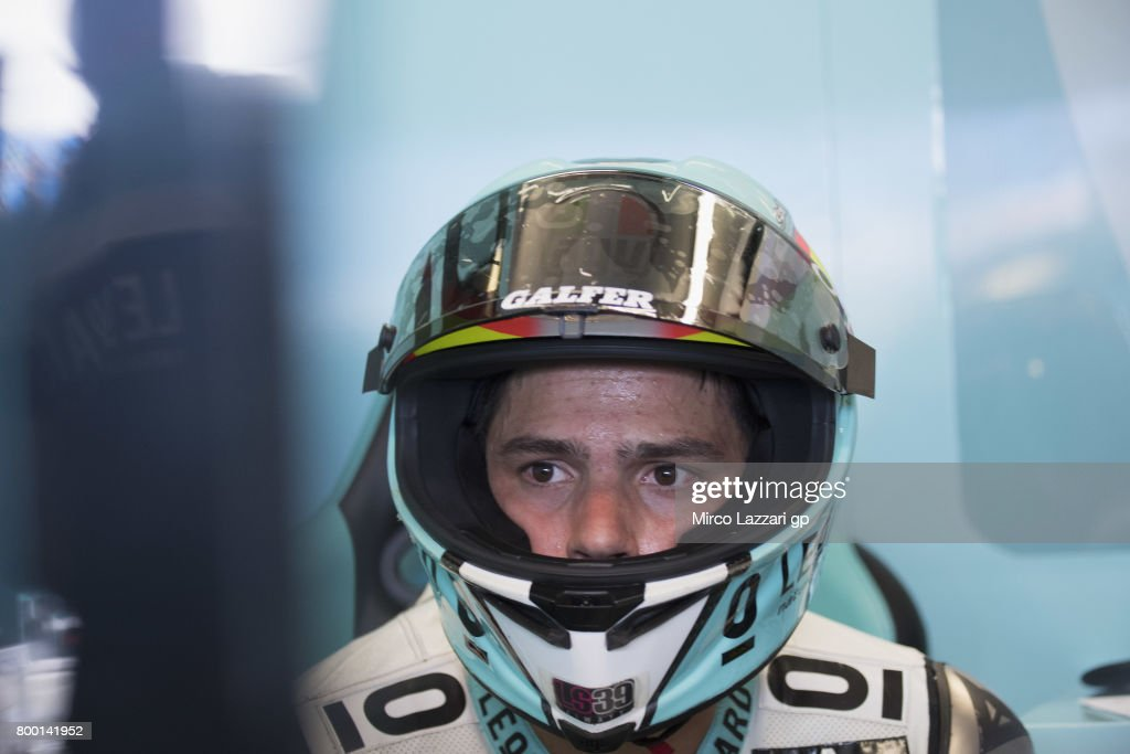 Joan Mir of Spain and Leopard Racing looks on in box during the MotoGP Netherlands - Free Practice on June 23, 2017 in Assen, Netherlands.