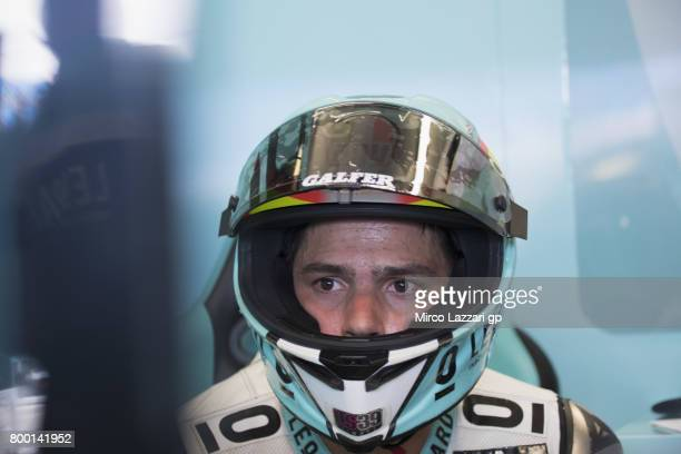 Joan Mir of Spain and Leopard Racing looks on in box during the MotoGP Netherlands Free Practice on June 23 2017 in Assen Netherlands