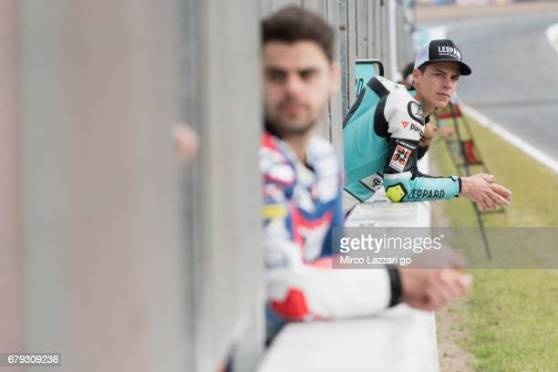 Joan Mir of Spain and Leopard Racing looks on in pit wall during the MotoGp of Spain Free Practice at Circuito de Jerez on May 5 2017 in Jerez de la...