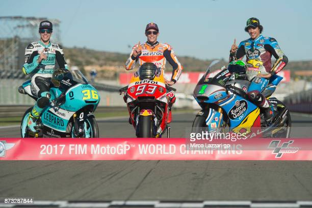 Joan Mir of Spain and Leopard Racing Marc Marquez of Spain and Repsol Honda Team and Franco Morbidelli of Italy and EG 00 Marc VDS pose on the bikes...