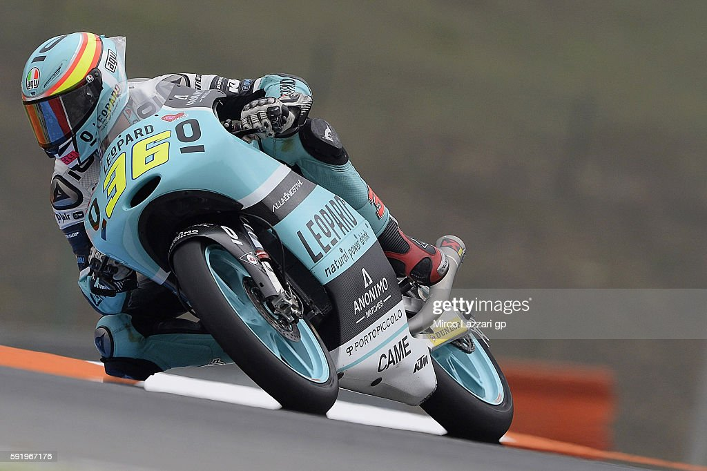 Joan Mir of Spain and Leopard Racing rounds the bend during the MotoGp of Czech Republic - Free Practice at Brno Circuit on August 19, 2016 in Brno, Czech Republic.