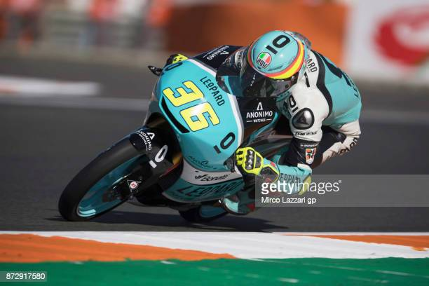 Joan Mir of Spain and Leopard Racing rounds the bend during the qualifying practice during the Comunitat Valenciana Grand Prix Moto GP Previews at...