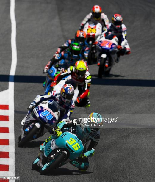 Joan Mir of Spain and Leopard Racing Team leads the race during the Moto3 race at Circuit de Catalunya on June 11 2017 in Montmelo Spain