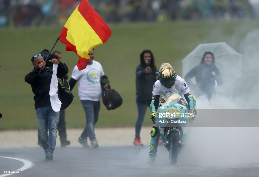 Joan Mir of Spain and rider of the SPA Leopard Racing Honda celebrates after winning the Moto3 World Championship during the 2017 MotoGP of Australia at Phillip Island Grand Prix Circuit on October 22, 2017 in Phillip Island, Australia.
