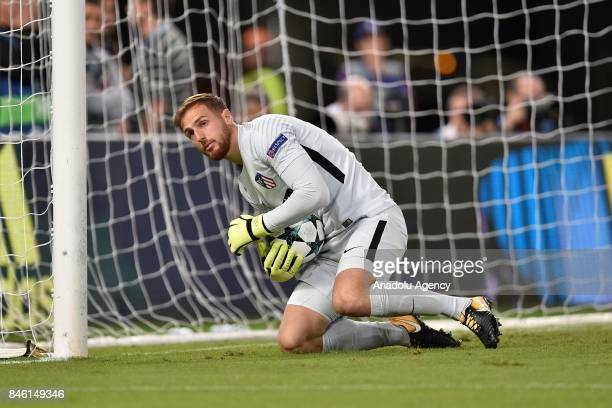 Joan Oblak of Atletico Madrid catches the ball during the UEFA Champions League group C soccer match between AS Roma and Club Atletico de Madrid at...