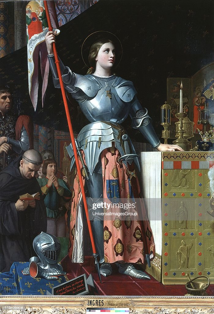 Joan of Arc at the Coronation of Charles VII in the Cathedral at Reims. Jean Auguste Dominique Ingres (1780-1867) French Classical painter. Oil on canvas (1854). Louvre, Paris.