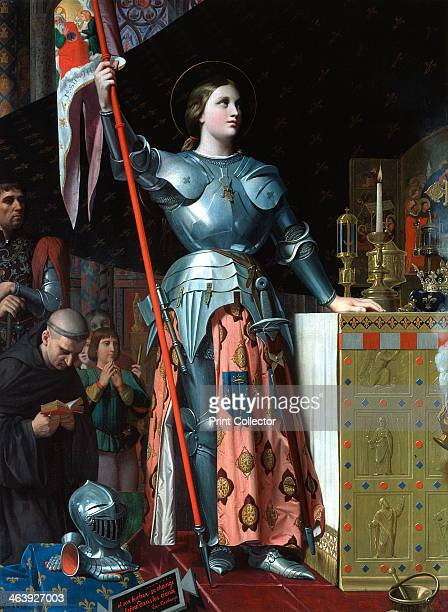 'Joan of Arc at the Coronation of Charles VII in the Cathedral at Reims' St Joan Maid of Orleans French patriot and martyr in full armour standing at...