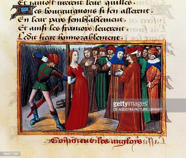 Joan of Arc at the stake miniature from The vigils of Charles VII by Martial d'Auvergne manuscript 5054 folio 71 1484 France 15th century Paris...