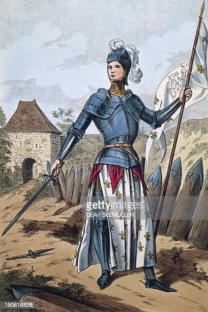 Joan of Arc liberating Orleans coloured engraving 19th century