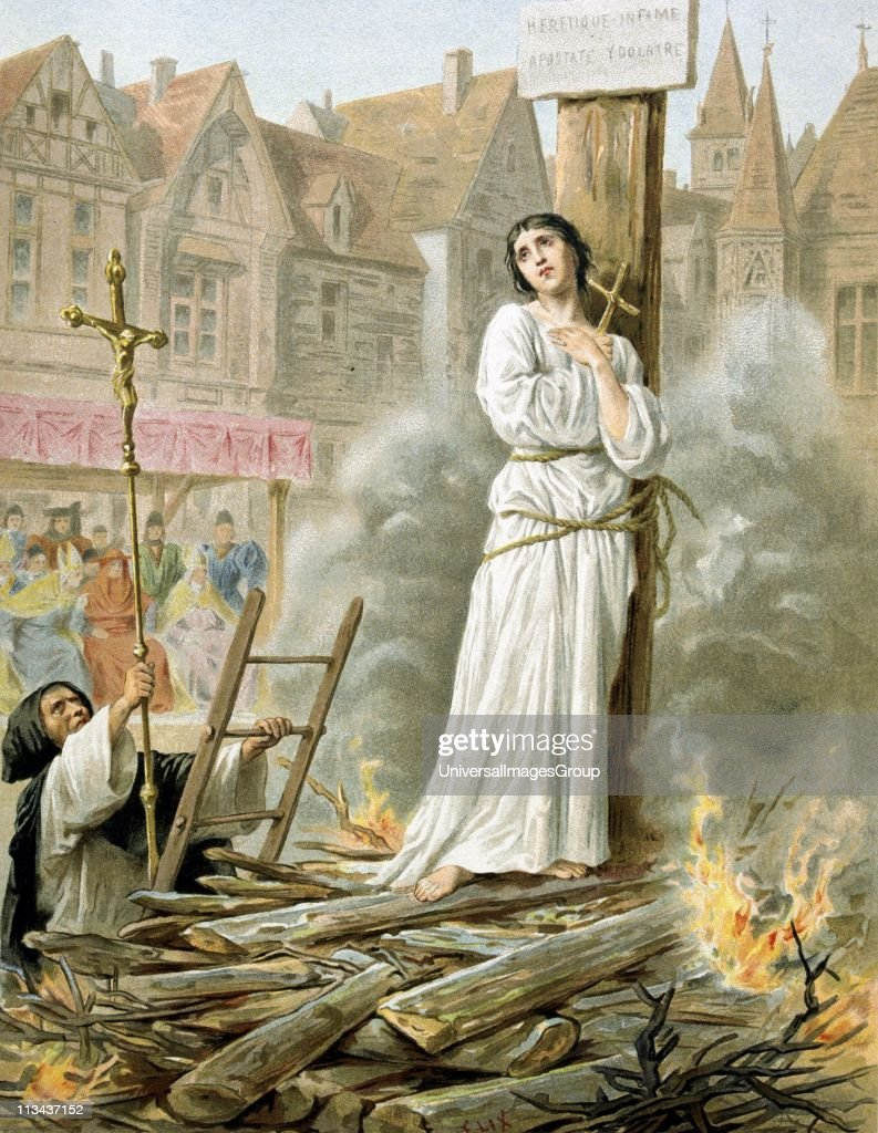 Joan of Arc (c1412-31) St <a gi-track='captionPersonalityLinkClicked' href=/galleries/search?phrase=Jeanne+d%27Arc&family=editorial&specificpeople=107098 ng-click='$event.stopPropagation()'>Jeanne d'Arc</a>, the Maid of Orleans, French patriot and martyr. Tried for heresy and sorcery and burnt at stake in market place at Rouen, 30 May 1431. 19th century chromolithograph.