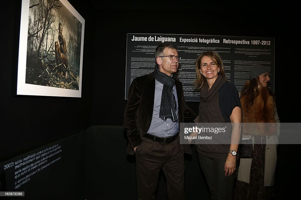 Joan Pique and Montserrat Bernabeu attend the 'Jaime de la Iguana Exhibition' at Palau Robert on February 28, 2013 in Barcelona, Spain.