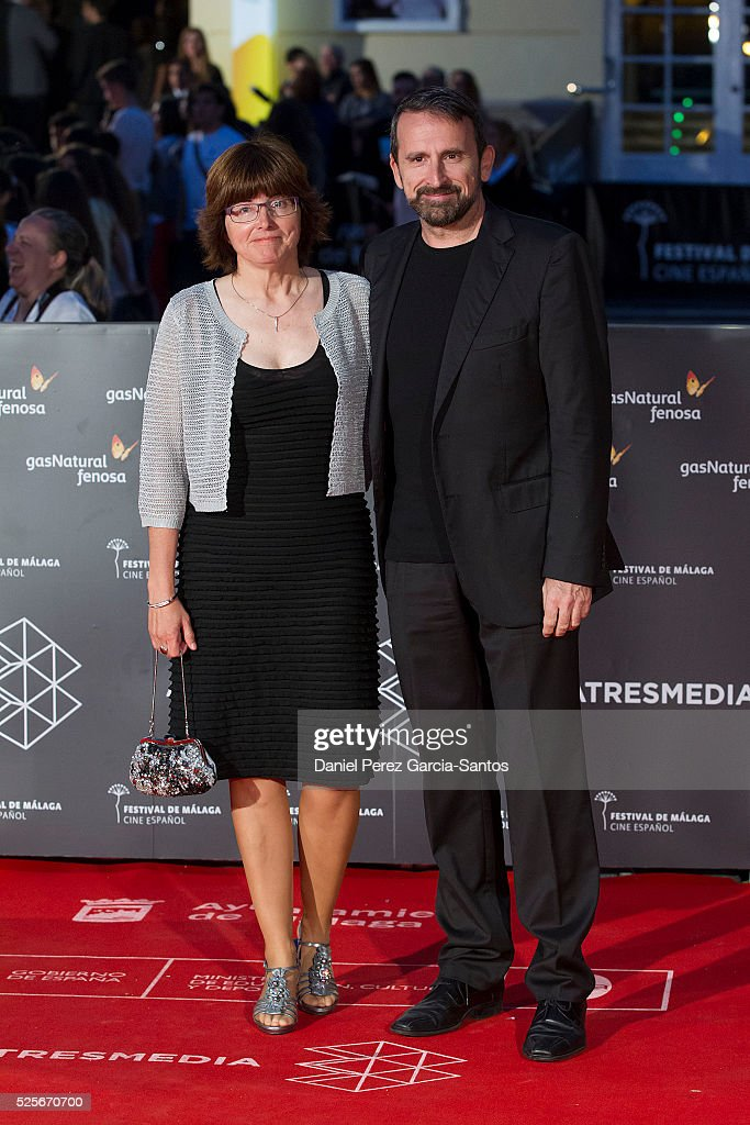 Joan Plaza (R) attends 'La Ultima Piel' premiere at the Cervantes Teather during the 19th Malaga Film Festival on April 28, 2016 in Malaga, Spain.