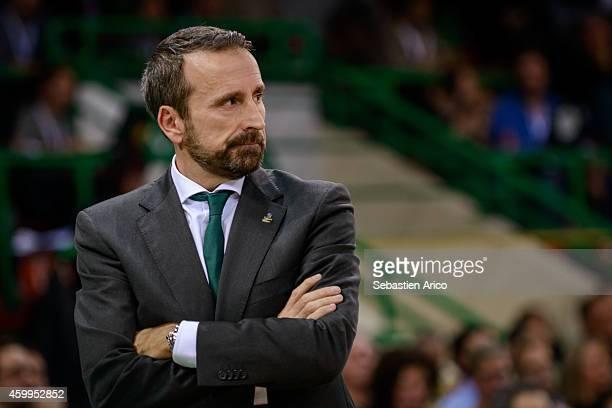 Joan Plaza Head Coach of Unicaja Malaga during the 20142015 Turkish Airlines Euroleague Basketball Regular Season Date 8 game between Limoges CSP vs...