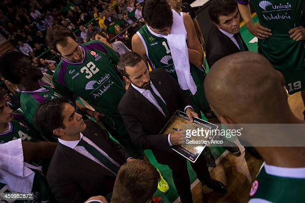 Joan Plaza Head Coach of Unicaja Malaga in action during the 20142015 Turkish Airlines Euroleague Basketball Regular Season Date 8 game between...