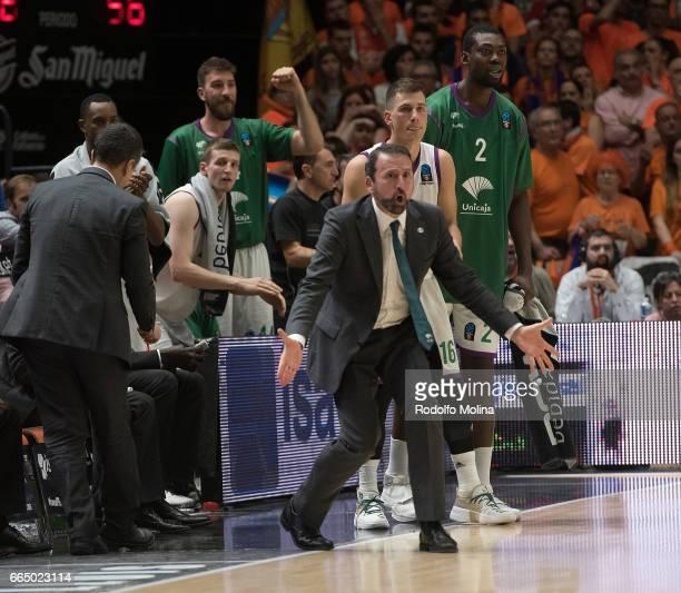 Joan Plaza Head coach of Unicaja Malaga in action during the 20162017 7Days Eurocup Finals Leg 3 Valencia Basket v Unicaja Malaga at Pabellon Fuente...