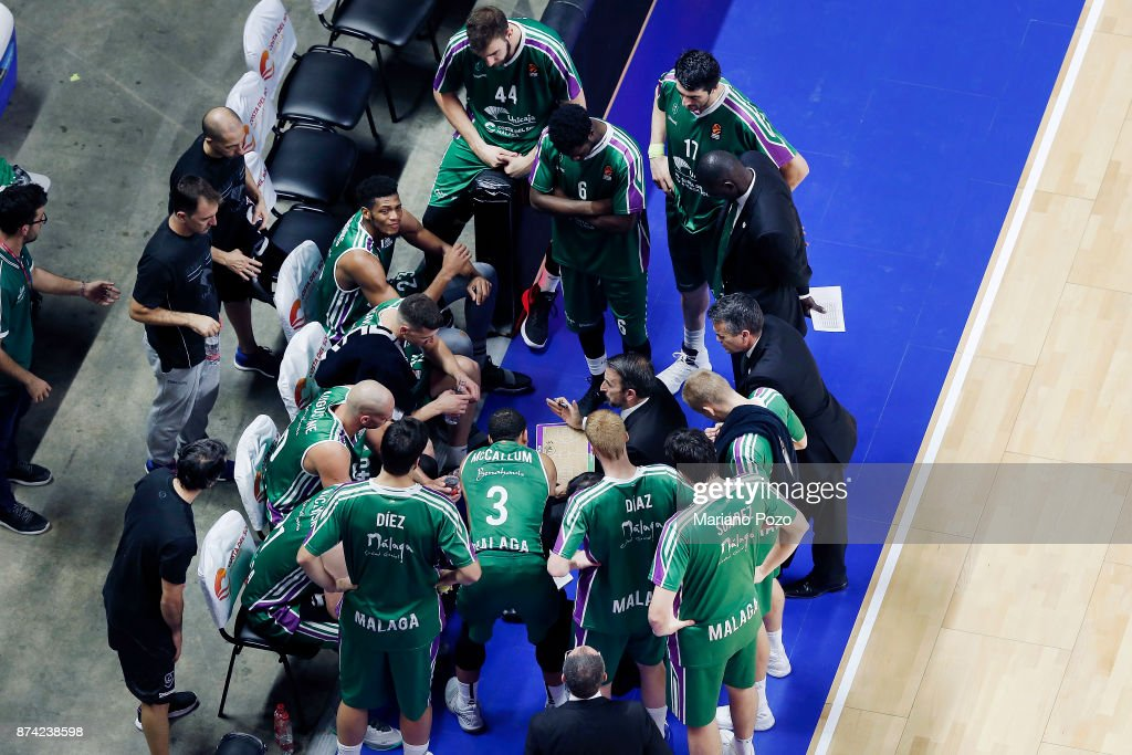 Joan Plaza, Head Coach of Unicaja Malaga in action during the 2017/2018 Turkish Airlines EuroLeague Regular Season Round 7 game between Unicaja Malaga and Zalgiris Kaunas at Martin Carpena Arena on November 14, 2017 in Malaga, Spain.