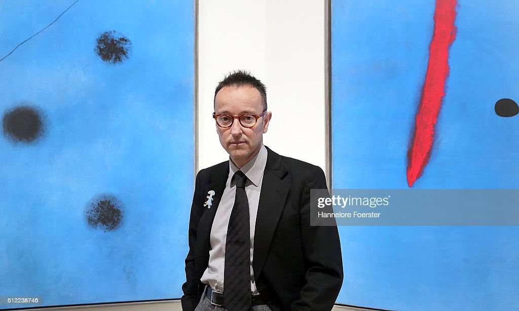 Joan Punyet Miro, grandson of <a gi-track='captionPersonalityLinkClicked' href=/galleries/search?phrase=Joan+Miro&family=editorial&specificpeople=190767 ng-click='$event.stopPropagation()'>Joan Miro</a>, during the preview of the exhibition '<a gi-track='captionPersonalityLinkClicked' href=/galleries/search?phrase=Joan+Miro&family=editorial&specificpeople=190767 ng-click='$event.stopPropagation()'>Joan Miro</a>. Wandbilder, Weltenbilder' at Schirn Kunsthalle on February 25, 2016 in Frankfurt am Main, Germany.
