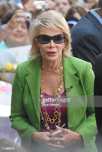 Joan Rivers appears on the NBC 'Today' show during a family and friends farewell program for CoAnchor Katie Couric May 31 2006 in New York City...