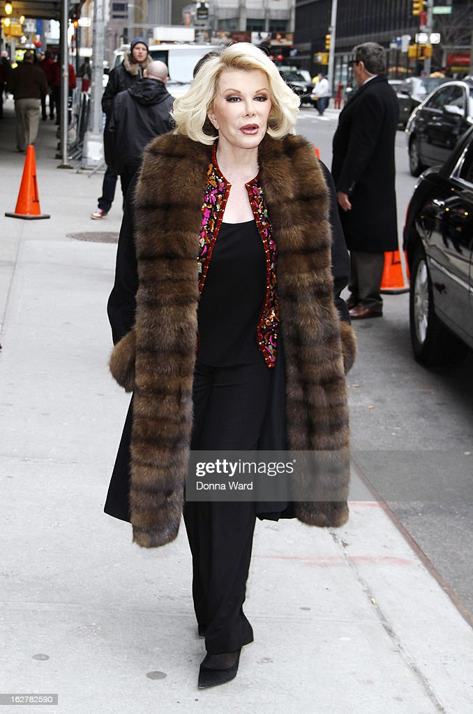 Joan Rivers arrives for the 'Late Show with David Letterman' at Ed Sullivan Theater on February 26, 2013 in New York City.