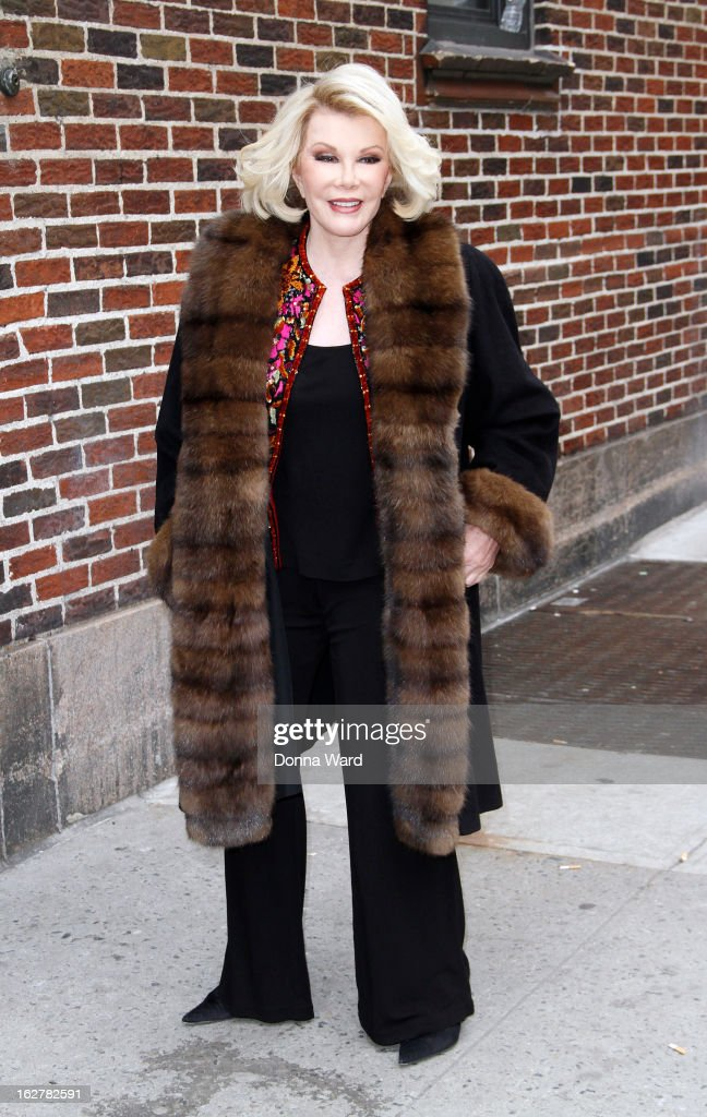 <a gi-track='captionPersonalityLinkClicked' href=/galleries/search?phrase=Joan+Rivers&family=editorial&specificpeople=159403 ng-click='$event.stopPropagation()'>Joan Rivers</a> arrives for the 'Late Show with David Letterman' at Ed Sullivan Theater on February 26, 2013 in New York City.