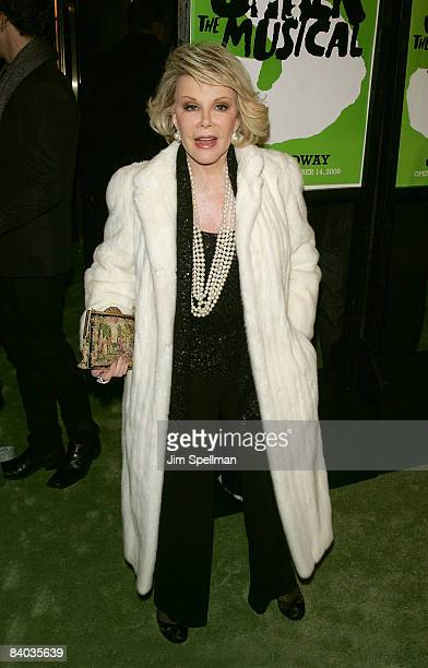 Joan Rivers attends the opening night of 'Shrek The Musical' on Broadway at the Broadway Theatre on December 14 2008 in New York City