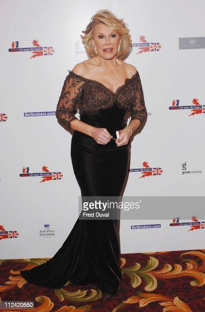 Joan Rivers during Miss Great Britain 2007 Red Carpet Arrivals at Grosvenor House in London Great Britain