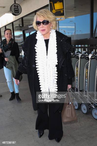 Joan Rivers seen at Los Angeles International airport on April 28 2014 in Los Angeles California