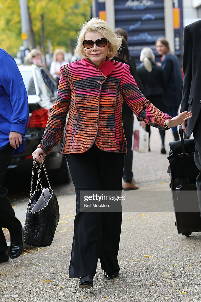 <a gi-track='captionPersonalityLinkClicked' href=/galleries/search?phrase=Joan+Rivers&family=editorial&specificpeople=159403 ng-click='$event.stopPropagation()'>Joan Rivers</a> seen at the ITV Studios on October 9, 2012 in London, England.
