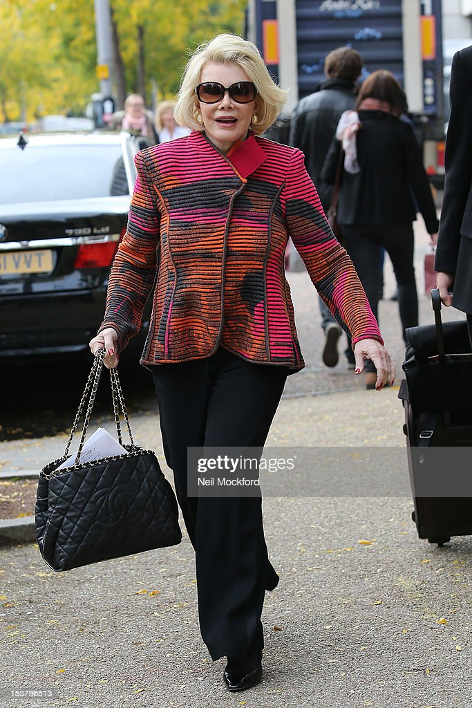 Joan Rivers seen at the ITV Studios on October 9, 2012 in London, England.