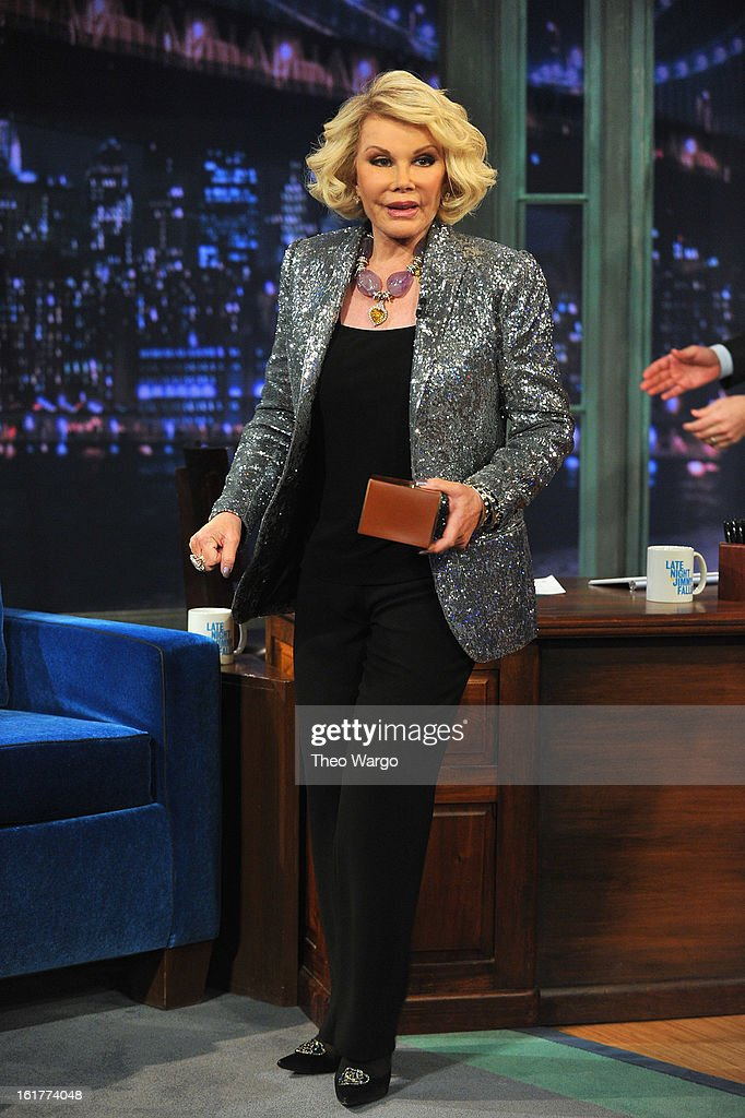 Joan Rivers visits 'Late Night With Jimmy Fallon' at Rockefeller Center on February 15, 2013 in New York City.